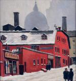 "Looking up Inspector street from St-James Street, 1947, Oil on panel, 8½'' x 10½''<span class=""sold"">sold</span>"