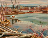 "The break up, Snib Lake, Huile sur toile, 25'' x 32''<span class=""sold"">vendu</span>"