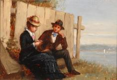 "The courtship, Oil on panel, 6½'' x 9½''<span class=""sold"">sold</span>"