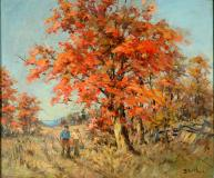 "The red maple, Oil on panel, 21¼'' x 25¼''<span class=""sold"">sold</span>"