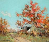 "The red maple, Pastel sur papier, 12½'' x 13¾''<span class=""sold"">vendu</span>"