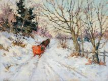 "The red sleigh, Pastel sur papier, 13'' x 17½''<span class=""sold"">vendu</span>"
