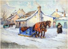 "Vieux Longueil, 1932, Watercolour on paper, 12'' x 16''<span class=""sold"">sold</span>"