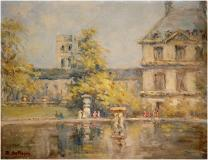 "View of St-Sulpice, Jardin du Luxembourg, Paris, 1919, Pastel on paper, 7½'' x 9½''<span class=""sold"">sold</span>"