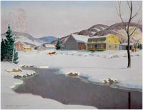 "Winter day, Laurentians, Oil on canvas, 20'' x 26''<span class=""sold"">sold</span>"