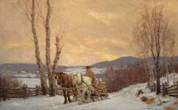 "Winter effect, 1917, Oil on canvas, 20'' x 32''<span class=""sold"">sold</span>"