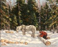 "Winter logging, Oil on panel, 8'' x 10''<span class=""sold"">sold</span>"