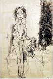 "Woman at table, 1954, Encre sur papier, 18'' x 12''<span class=""sold"">vendu</span>"