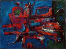 "Abstract, 1958, Huile sur toile, 18'' x 24''<span class=""sold"">vendu</span>"